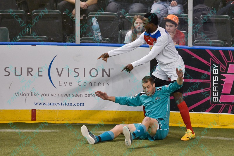 St. Louis Ambush forward BLAKE ORDELL (81) and Missouri Comets defender ALAIN MATINGOU (4) during a regular season Major Arena Soccer League (MASL) game between the St, Louis Ambush and the Missouri Comets played at the Family Arena in St. Charles, MO., where Missouri Comets defeat St. Louis by the score of 10-5