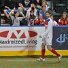 St. Louis Ambush fans celebrate a goal during a regular season Major Arena Soccer League (MASL) game between the St, Louis Ambush and the Missouri Comets played at the Family Arena in St. Charles, MO., where Missouri Comets defeat St. Louis by the score of 10-5