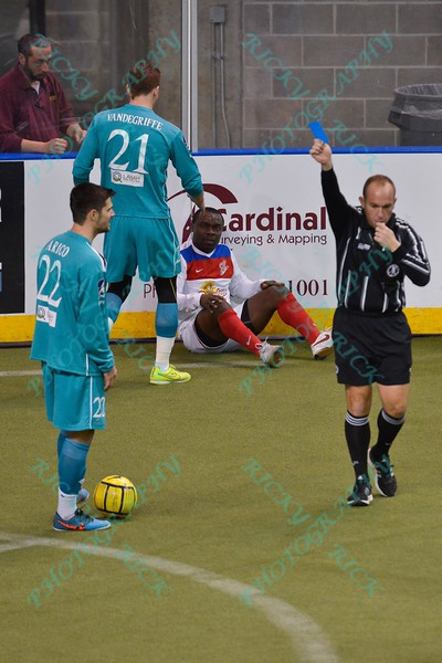 St. Louis Ambush midfielder ANTHONY ARICO (22) draws a two minute penalty for taking down Missouri Comets forward LEO GIBSON (14) during a regular season Major Arena Soccer League (MASL) game between the St, Louis Ambush and the Missouri Comets played at the Family Arena in St. Charles, MO., where Missouri Comets defeat St. Louis by the score of 10-5