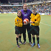 Former Ambush goalie Jamie Swanner poses with his family during a regular season Major Arena Soccer League (MASL) game between the St, Louis Ambush and the Missouri Comets played at the Family Arena in St. Charles, MO., where Missouri Comets defeat St. Louis by the score of 10-5