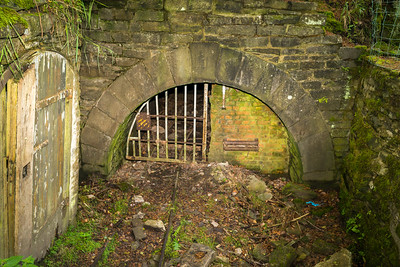 The rather fine masonry entrance to Morse's Level. The tramway winding engine is located behind the blank wall with the rollers provided for the rope which passed to the top of the incline and around a return drum.