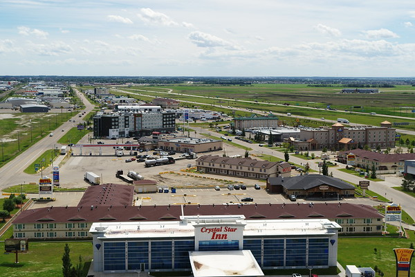 Highway 2 and Hotels Aerial Photo