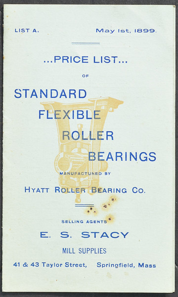 Hyatt Roller Bearing Co., E.S. Stacy Selling Agent