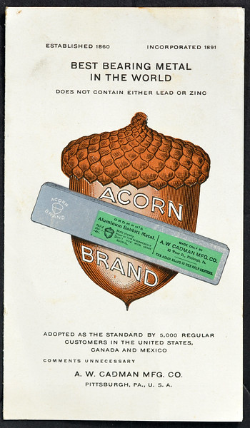 A. W. Cadman Mfg. Co., Acorn Brand Bearing Metal