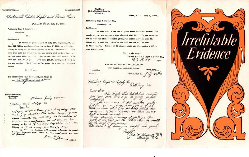 Pittsburgh Gage & Supply Co., Customer Testimonials, 1902