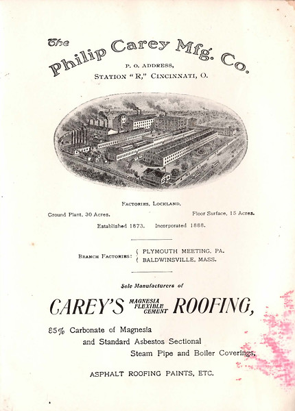 Philip Carey Mfg. Co., 1904 (est.)