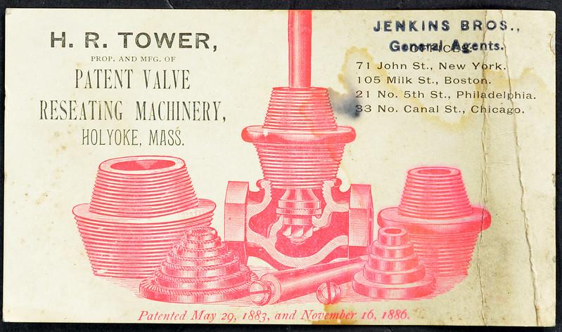 H.R. Tower Valve Reseating Machinery, Holyoke, MA.