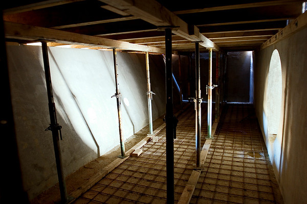 The interior of the outlet chamber under construction.