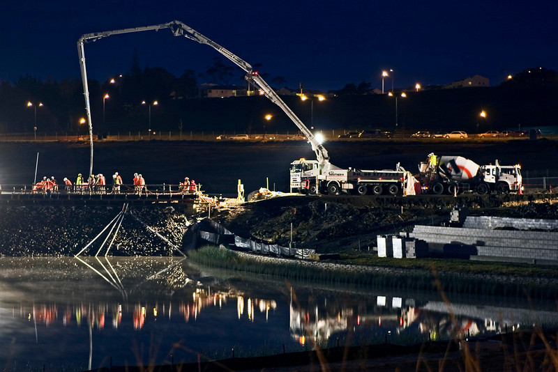 All the bridge concrete was poured in one long session in May 08. It began at 1 am and finished sometime around 8 am.