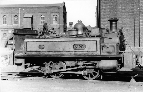 No. 20 12th April 1958 Beckton Gas Works, Neilson 0-4-0ST No.20 (Works No. 4249 of 1890).  Supplied new to the Gas Light & Coke Co. Ltd. for use at their Beckton Gas Works.  Rebuilt in Beckton's own workshops in 1929.  Scrapped on site by George Cohen, Sons & Co. Ltd. in May 1960.