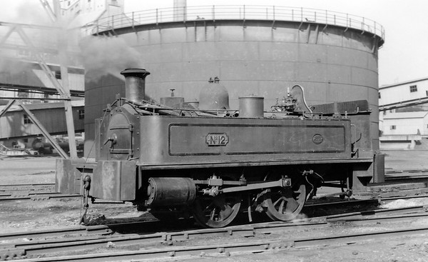 No.12 N 2597/1880 Neilson 0-4-0T built in 1880 (Works No. 2597) and supplied new to Beckton.   Scrapped on site by George Cohen, Sons & Co. Ltd. in May 1960.