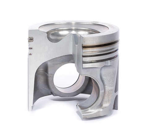 Cut-away view of an automotive piston.