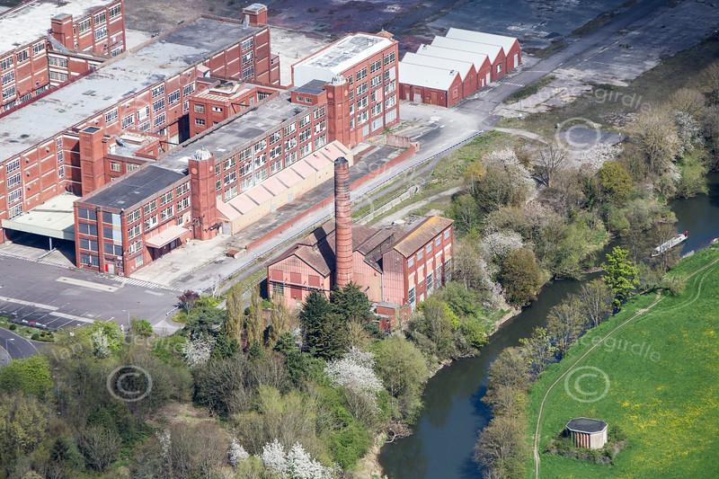 An aerial photos of the disused Cadbury's Somerdale Factory and Powerhouse in Keynsham near Bristol.