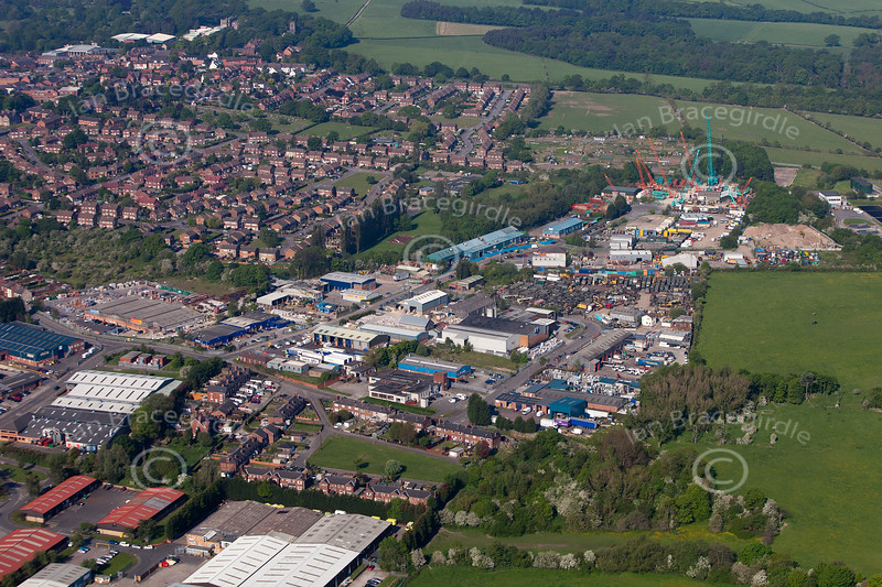 Aerial photos of Meadow Lane Industrial Estate in Alfreton, Derbyshire.