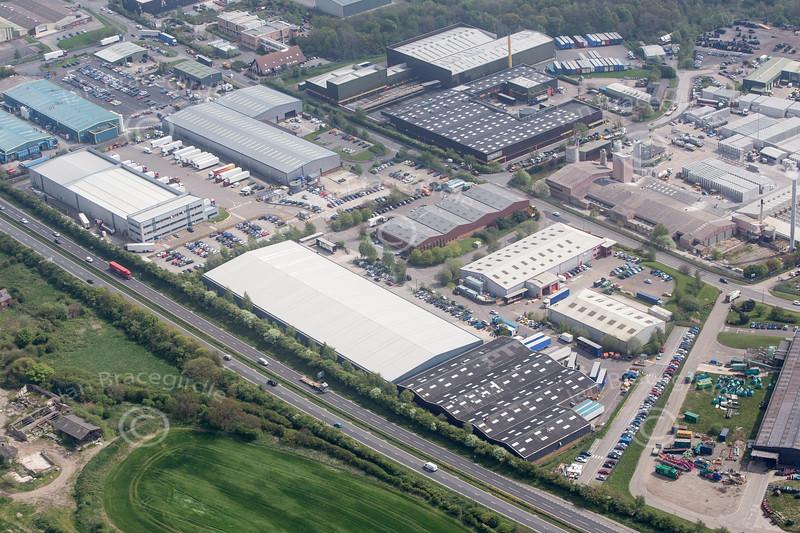 Aerial photos of Clover Nook Industrial Estate in Alfreton, Derbyshire.