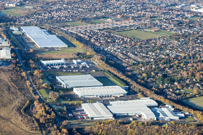Aerial photo of Crown Farm Industrial Estate in Mansfield, Nottinghamshire.