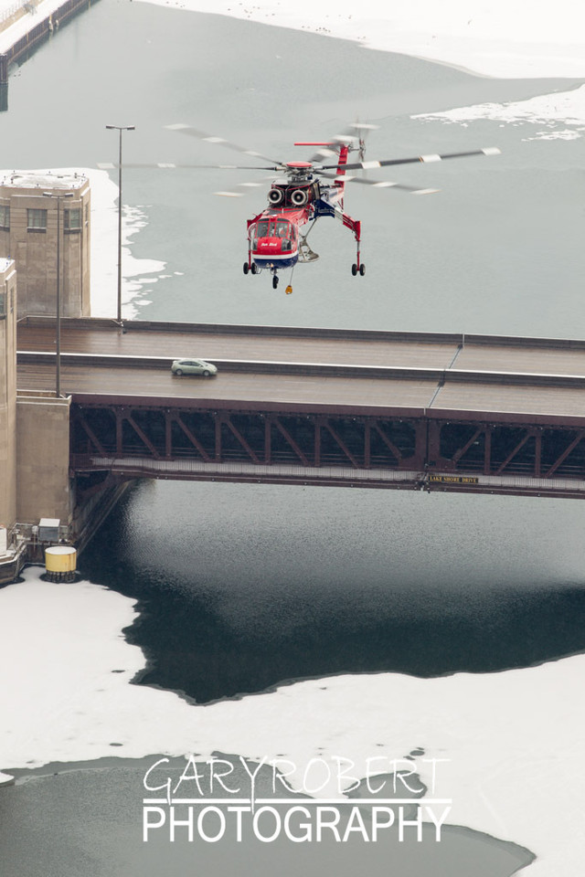 Erickson Air Crane - Sun Bird  over the Chicago River