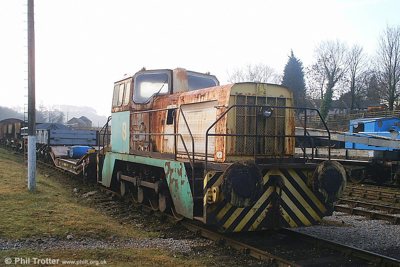 Former BP Llandarcy 0-6-0DHF no. 8 (Thomas Hill 'Vanguard' no. 246V/1973) is seen at Wirksworth, Ecclesbourne Valley Railway on 20th February 2009. The loco had arrived at the railway the previous day. (Picture courtesy Richard Buckby, EVR).