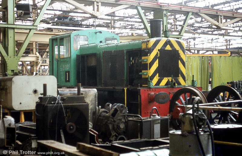 The former 1960-built D2139, withdrawn at the end of May 1968 and by this time in industrial use with NCB Coed Ely, was back at Swindon Works for repair in this view taken on 19th August 1981. The loco now has been preserved at Peak Rail.