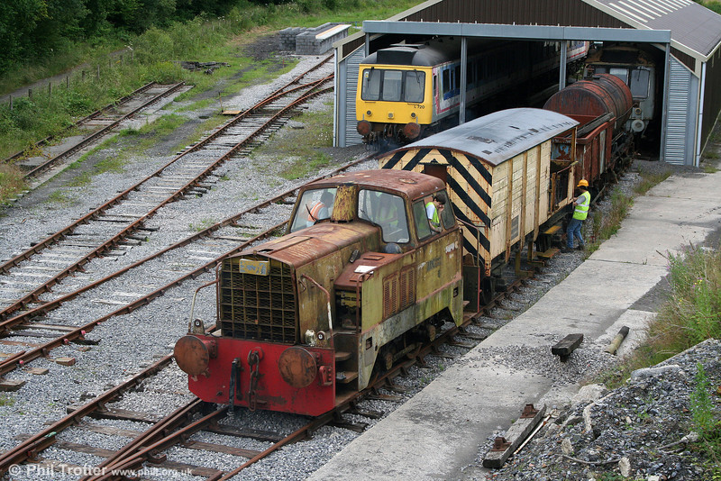 Another view of L&MMR Sentinel 4wDH (10222/1965) shunting wagons at the railway's Cynheidre base on 11th July 2010.