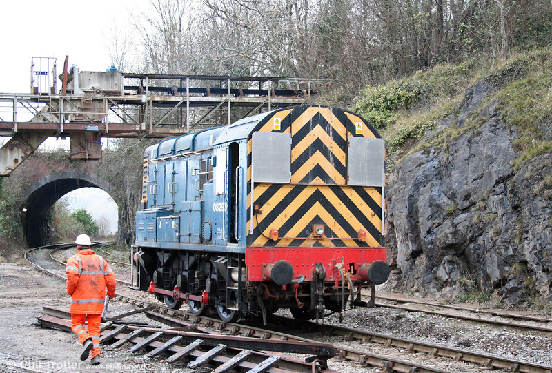 The overbridge at Machen Quarry doubles up as a 'shed' for Hanson Aggregates 08296 which was seen there on 29th November 2008.