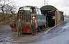 Sentinel 4wDH 10222 of 1965 with its crew outside the shed at ARC Penderyn Quarry on 12th November 1982.