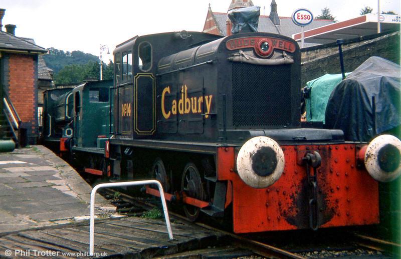 Hudswell Clarke 0-4-0DM (D1012/1956) 'Cadbury No.14' at the Llangollen Railway in 1979.
