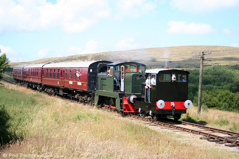 Former Swansea Vale Railway Ruston Hornsby 4wDM (200793/1940) 'Gower Princess' leads English Electric 0-6-0DH (D1249/1968) 'Llanwern' on the 1400 Whistle Inn to Furnace Sidings, P&BR on 26th July 2008.