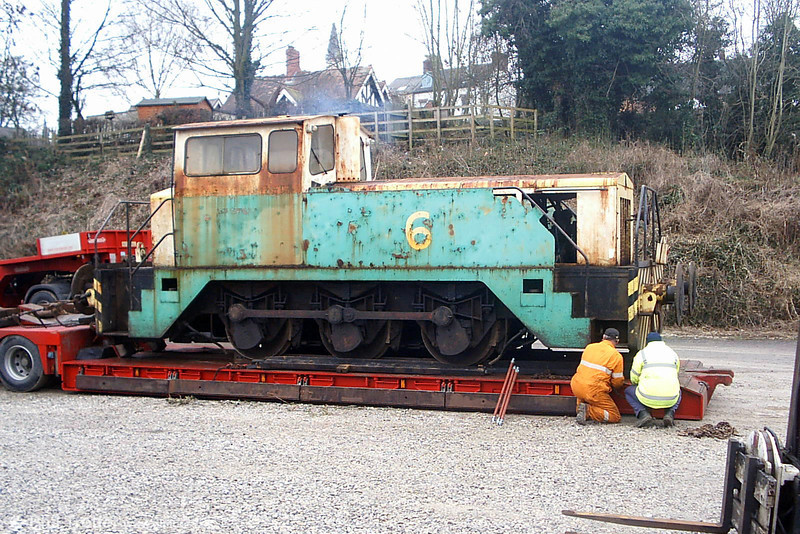 The two former BP Llandarcy 0-6-0DHF locomotives, numbered 6 & 8 and built by Thomas Hill in 1968 and 1973 respectively (works nos. 194V and 246V), have arrived at the Ecclesbourne Valley Railway for preservation. No. 6 is seen here on arrival at Wirksworth on 18th February 2009. No. 8 arrived there on 19th February. (Picture courtesy Richard Buckby, EVR).