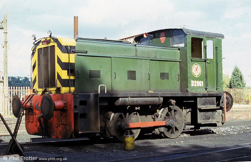 Ruston Hornsby 165DE class 0-4-0DE (418596/1957), ex-Patent Shaft Steelworks, Wednesbury, masquerading as BR D2961 at Bridgnorth, SVR.