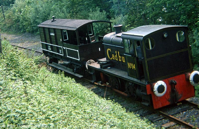 Hudswell Clarke 0-4-0DM (D1012/1956) 'Cadbury No.14' in action at the Llangollen Railway in June 1979.