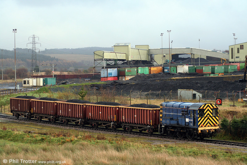 Mainline liveried 08523 shunts loaded MEAs at Onllwyn Washery on 8th November 2008. 08523 is on hire to Celtic Energy from RMS Locotec/British American Railway Services Ltd/Iowa Pacific.