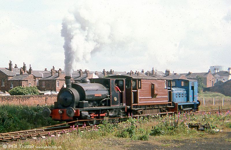 Hudswell Clarke (750/1906) 0-4-0ST 'Waleswood' in steam at Steamport, Southport in August 1978.