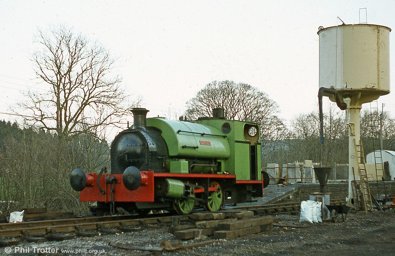Peckett 0-4-0ST (1967/1939)'Merlin/Myrrdin' at Bronwydd Arms in the early days of the Gwili Railway.
