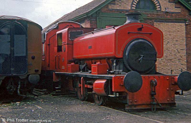Andrew Barclay 0-4-0ST (2333/1953) 'David' at the Lakeside & Haverthwaite Railway in August 1978. Note the modern cab design on this late built example.