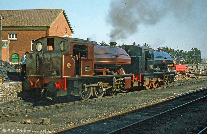 The two Bagnall 0-6-0STs at Minehead on 5th April 1980. The two locos worked on the WSR between 1975 and 1988.
