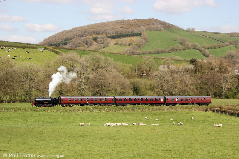 The Gwili Railway's WD Austerity' 0-6-0ST no. 71516 'Welsh Guardsman' (RSH 7170/1944) heads for Llwyfan Cerrig with the 1430 from Bronwydd Arms on 19th April 2014.