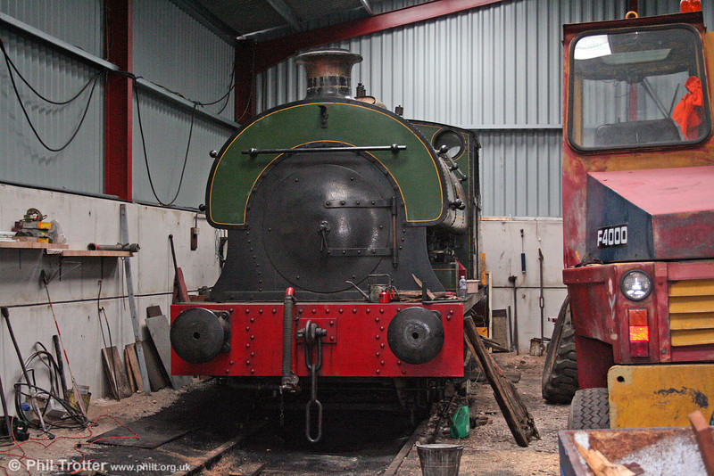 The Bristol Harbour Railway's Peckett 0-6-0ST (1940/1937) 'Henbury' in the shed at Wapping Wharf on 1st November 2008.