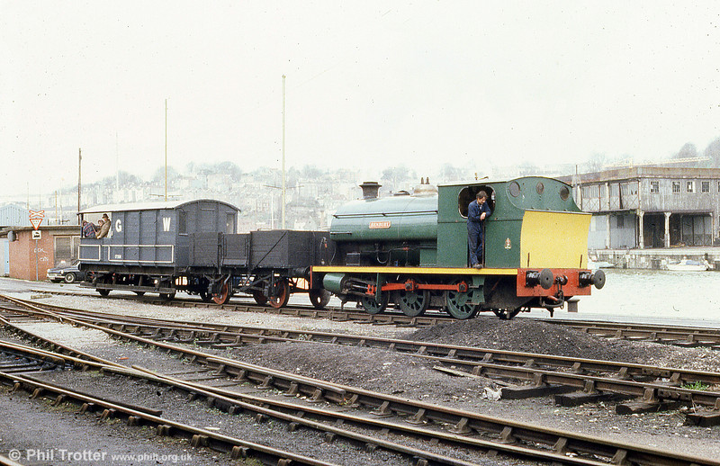 Peckett 0-6-0ST (1940/1937) 'Henbury' in steam on the quayside at Bristol Harbour Railway, April 1985.