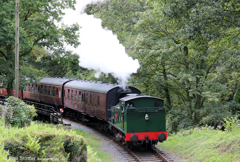 Hudswell Clarke 0-6-0T 'Jennifer' (HC1731/1942) heads away from Llwyfan Cerrig, Gwili Railway on 29th August 2011,