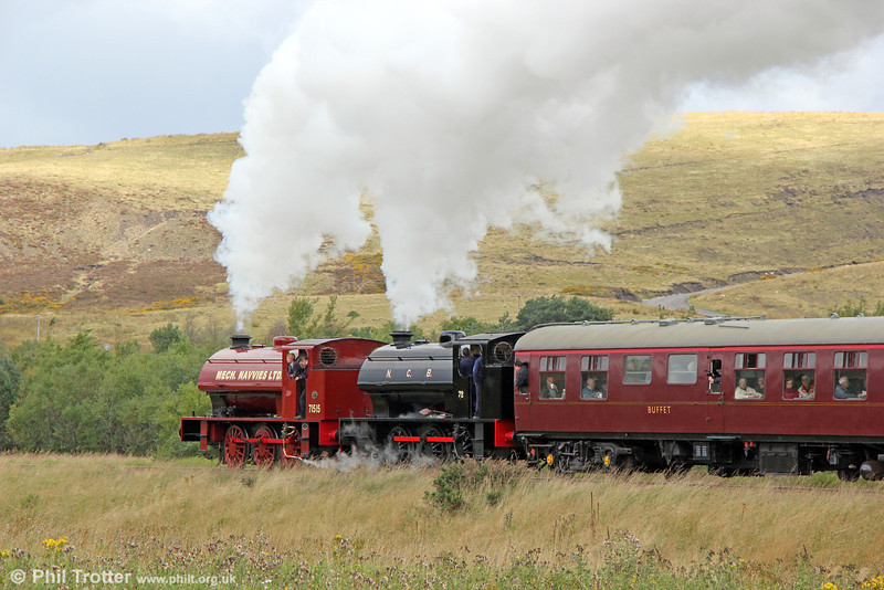 RSH 0-6-0ST (7169/1944) and Vulcan Foundry (5309/1945) 0-6-0ST no.72 blast uphill from Furnace Sidings with the 1210 Blaenavon High Level to Garn yr Erw on 14th September 2013.