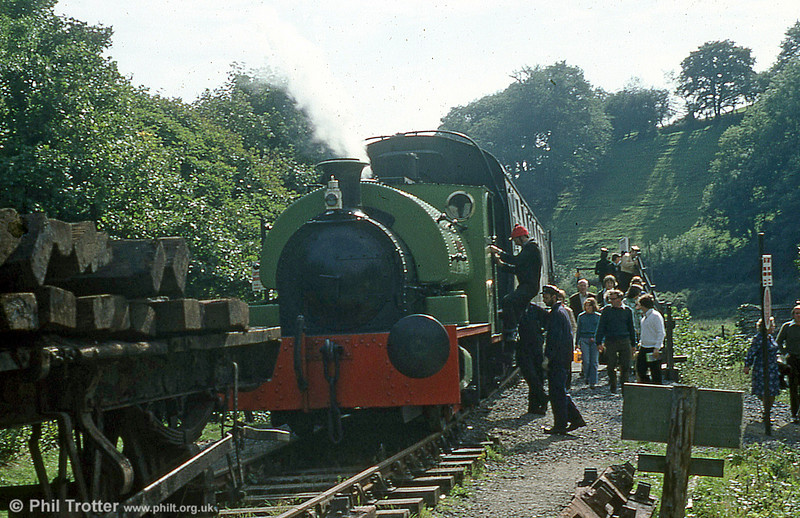 Peckett 0-4-0ST (1967/1939) 'Merlin/Myrrdin' at the Gwili railway's (then) Cwmdwyfran terminus in 1979.