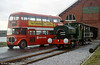 Andrew Barclay 0-4-0ST 'Rosyth No. 1' and a South Wales Transport AEC Regent V at Swansea Maritime & Industrial Museum to commemorate 20 years since the closure of the MUmbles Railway in 1980.