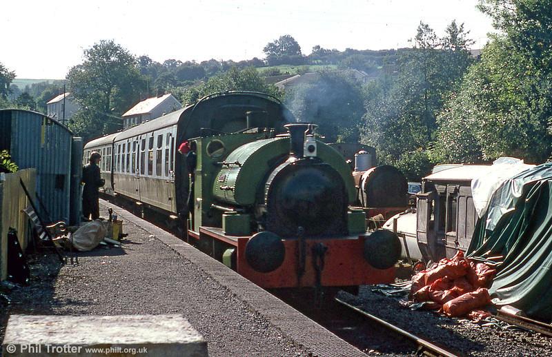 Peckett 0-4-0ST (1967/1939)'Merlin/Myrrdin' waits to leave Bronwydd Arms in 1979.