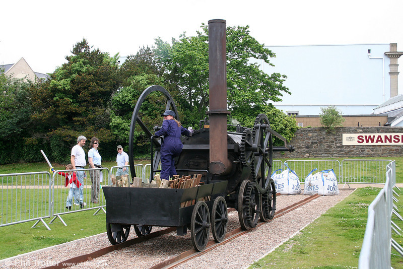 The chimney (and firebox!) end of the National Waterfront Museum's replica Penydarren locomotive on its short demonstration line at Swansea on 1st June 2008.