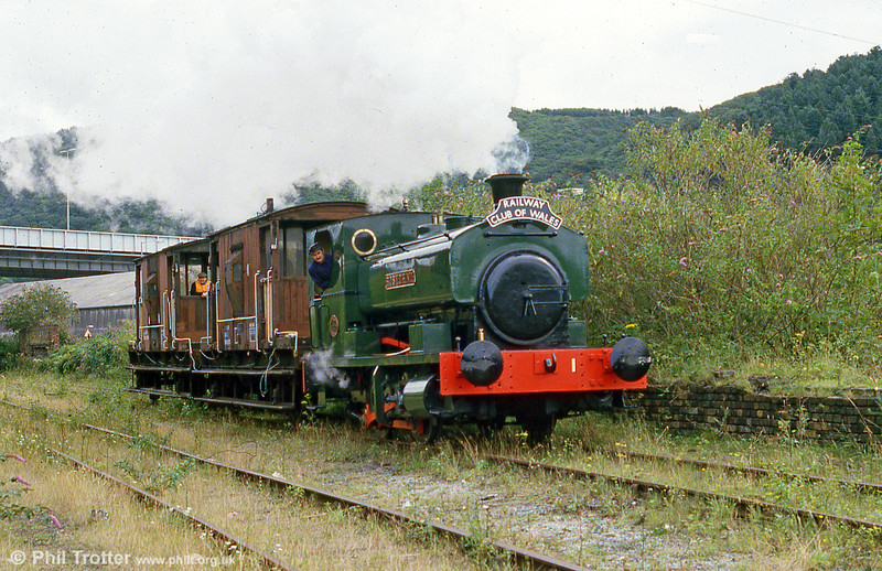 Andrew Barclay 0-4-0ST 'Rosyth No. 1' shunts BR brakevans prior to an operating day at Briton Ferry in August 1985.
