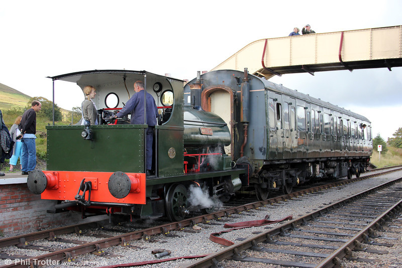 Peckett 0-4-0ST (1163/1908) 'Whitehead' waits to depart from Furnace Sidings with the Big Pit shuttle on 17th September 2011.