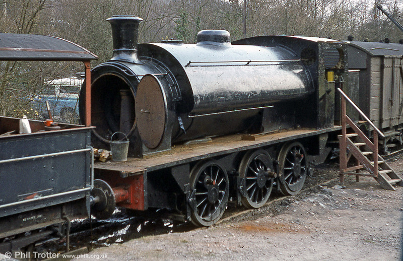 Hunslet (1873/1937) 0-6-0ST 'Jessie' at Norchard, DFR following liberation from a children's playground at Splott Park, Cardiff. It was later restored to working order at the Llangollen Railway