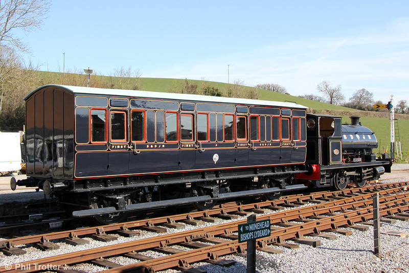The Somerset & Dorset Railway Trust's newly restored S&D first class 4-compartment 6-wheel carriage No 4 paired with Peckett 0-4-0ST (1788/1929) 'Kilmersdon' at Washord on 31st March 2013.