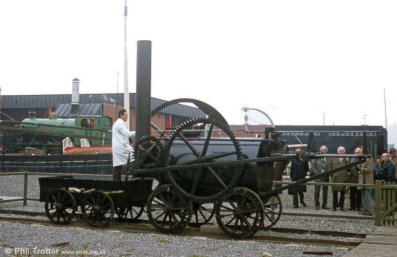 The 1981 replica of Trevithick's Penydarren locomotive in action at the former Cardiff Industrial Museum in July 1985.
